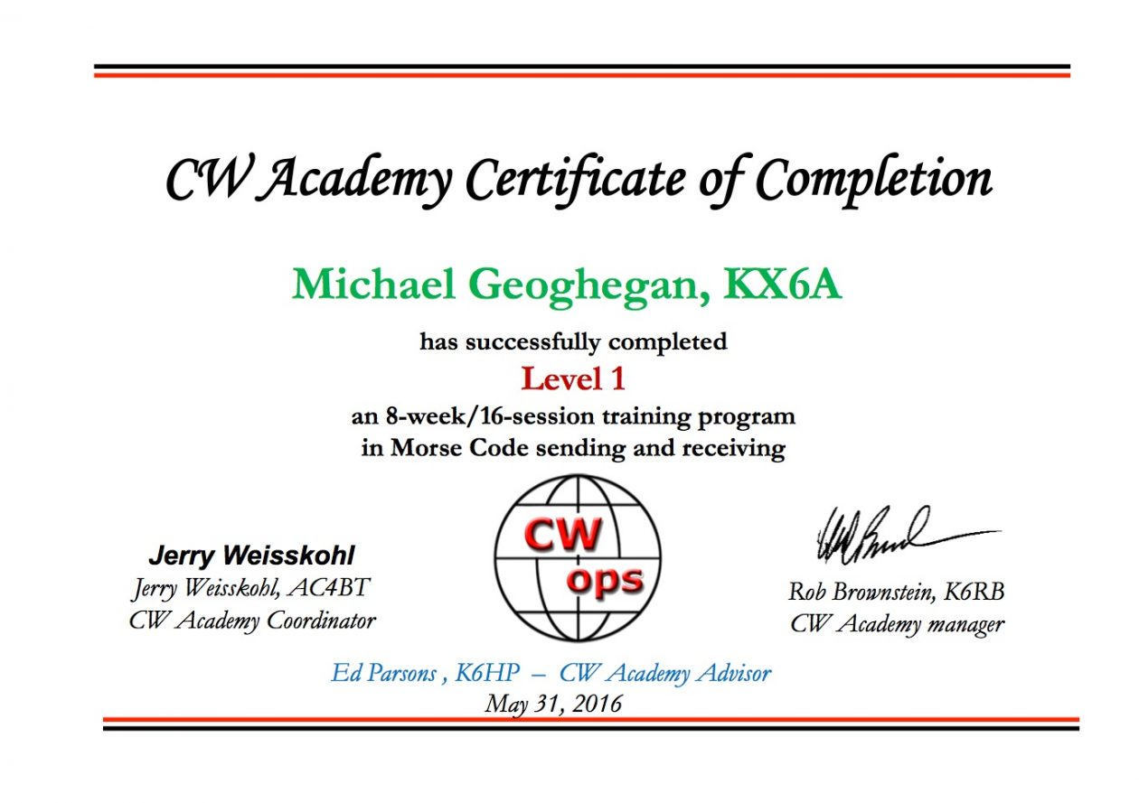 CW Academy Level 1 - KX6A