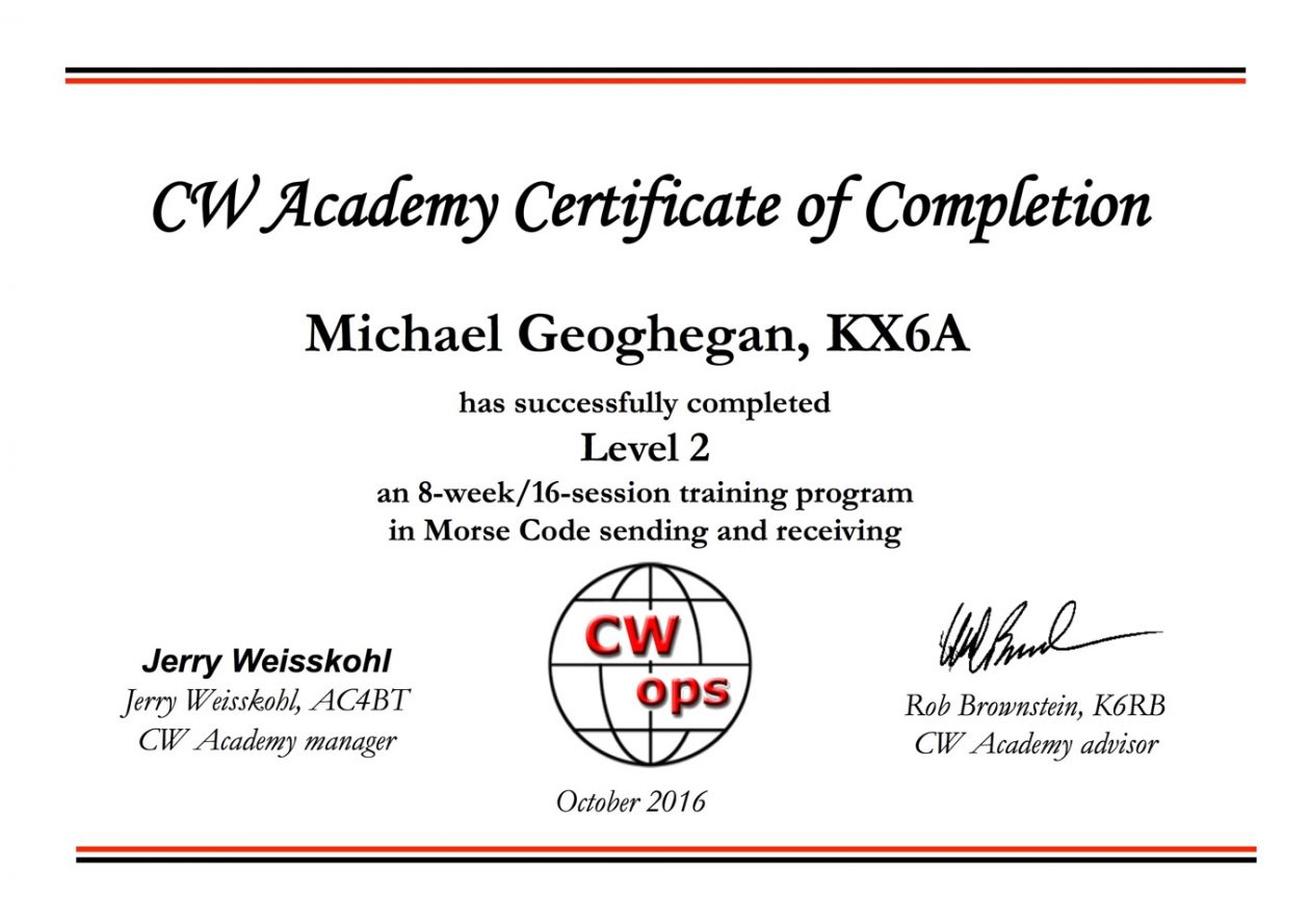 CW Academy Level 2 - KX6A