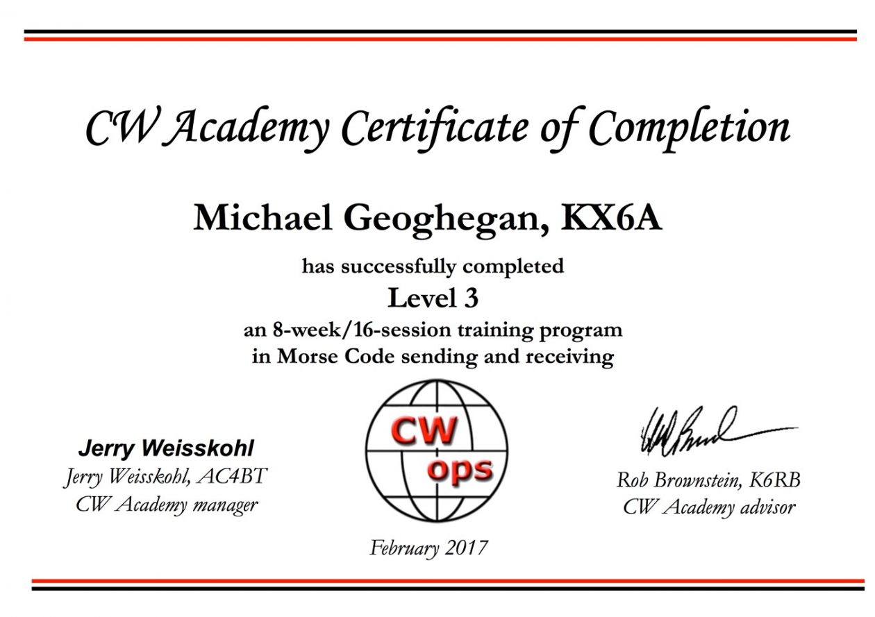 KX6A - CW Academy Level III